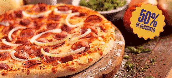 Combo Clube: 4 Alho Rolls + Pizza Média (sabores especialidades)  + Chocobread | De R$ 73,70 por R$ 36,85